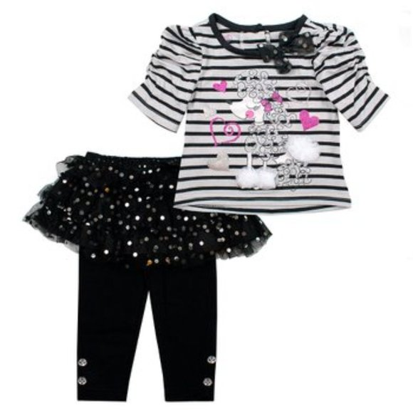 Young Hearts Stripe Poodle Crewneck Tee & Leggings